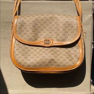 Vintage tan/orange Gucci coated canvas/leather bag